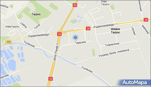 Grudziądz, Irysowa, mapa Grudziądza