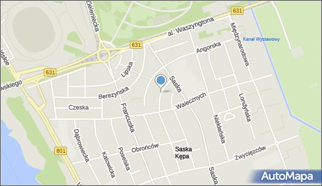 Warszawa, Irlandzka, mapa Warszawy