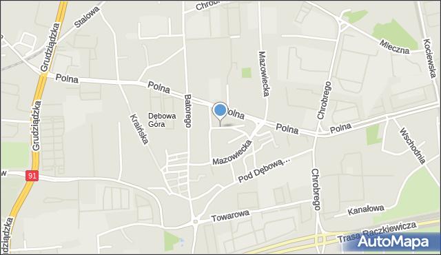 Toruń, Iwanowa Zbigniewa, mapa Torunia