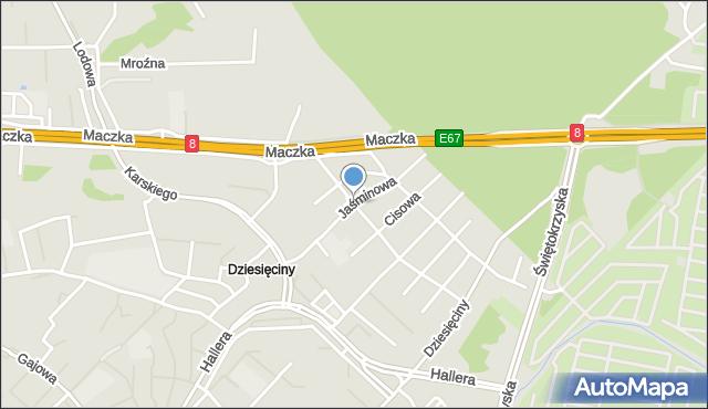Białystok, Jaśminowa, mapa Białegostoku