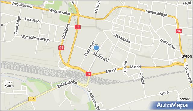 Bytom, Jagiellońska, mapa Bytomia