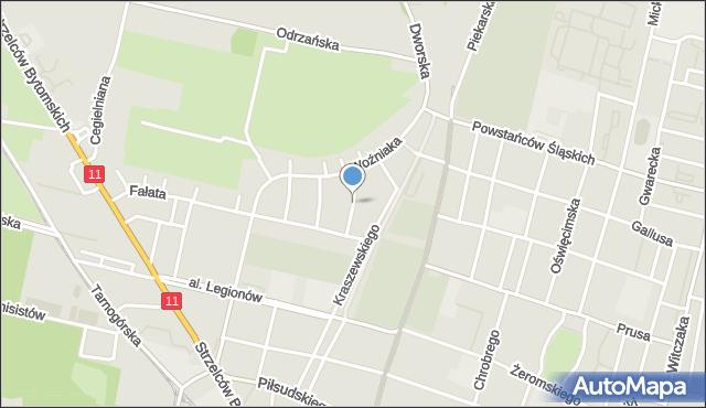 Bytom, Jaworowa, mapa Bytomia