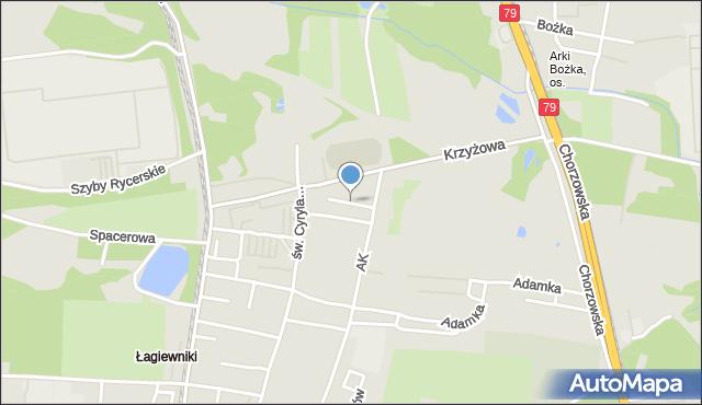 Bytom, Jałowcowa, mapa Bytomia