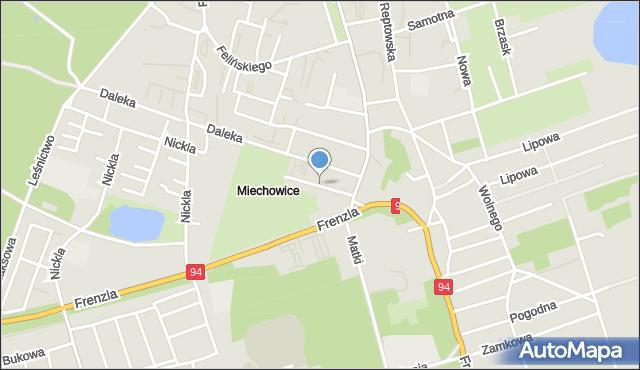 Bytom, Jaskółcza, mapa Bytomia