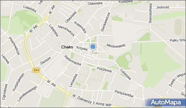 Chełm, Jatkowa, mapa Chełma