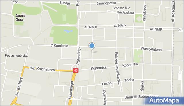 Częstochowa, Jaracza, mapa Częstochowy