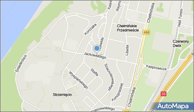 Grudziądz, Jackowskiego, mapa Grudziądza