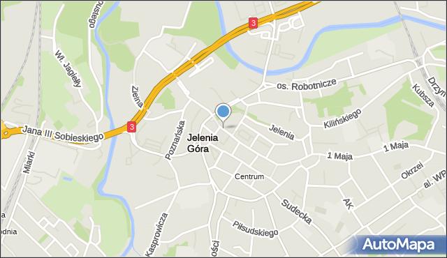 Jelenia Góra, Jasna, mapa Jelenia Góra