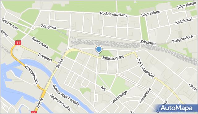 Kołobrzeg, Jagiellońska, mapa Kołobrzegu