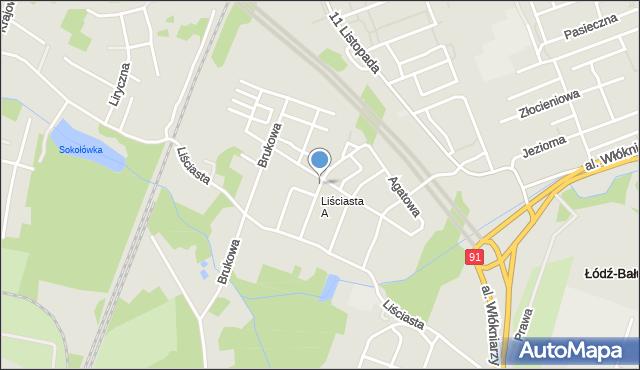 Łódź, Jaspisowa, mapa Łodzi