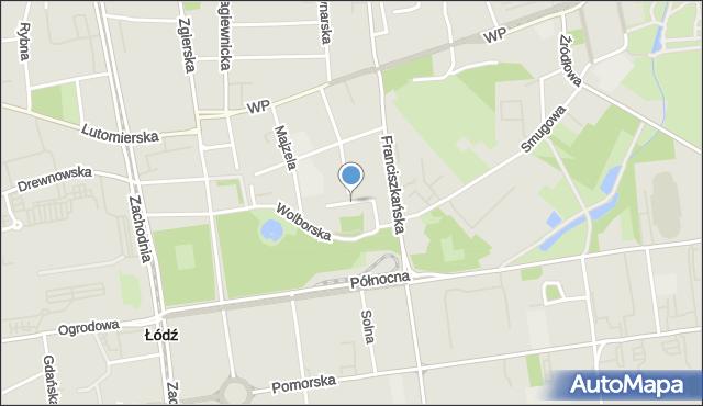 Łódź, Jakuba, mapa Łodzi