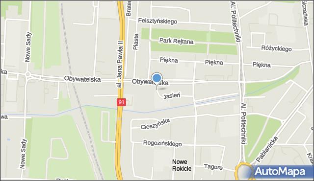 Łódź, Jasień, mapa Łodzi