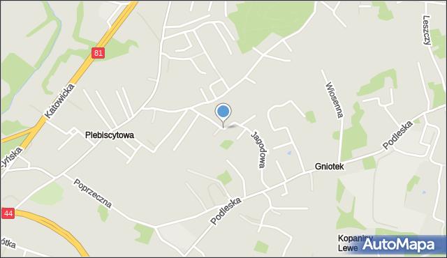 Mikołów, Jagodowa, mapa Mikołów