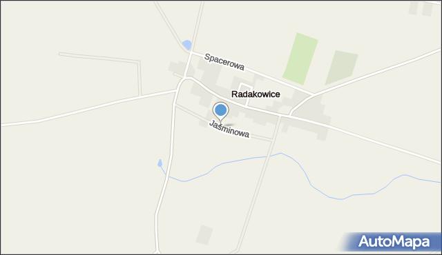 Radakowice, Jaśminowa, mapa Radakowice
