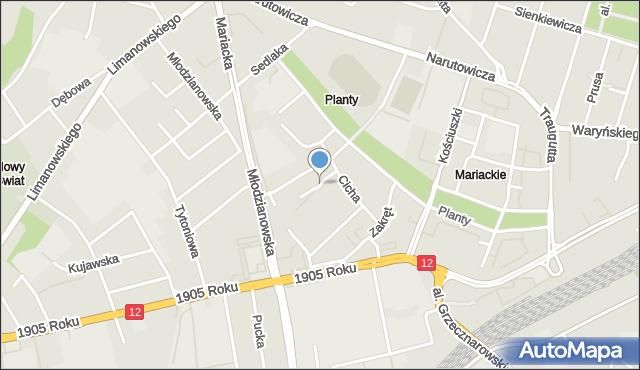 Radom, Jastrzębia, mapa Radomia