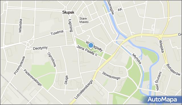 Słupsk, Jana Pawła II, mapa Słupska