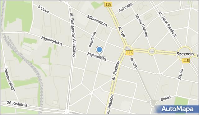 Szczecin, Jagiellońska, mapa Szczecina