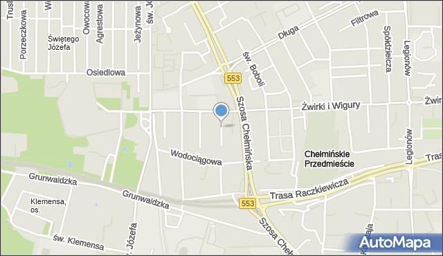 Toruń, Jaracza Stefana, mapa Torunia