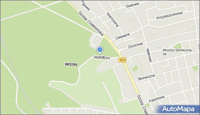 Toruń, Jaskółcza, mapa Torunia