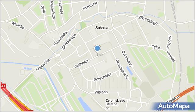 Gliwice, Jedności, mapa Gliwic