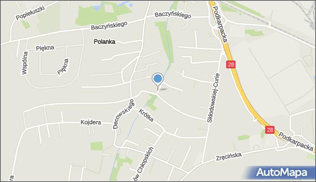 Krosno, Jesionowa, mapa Krosna