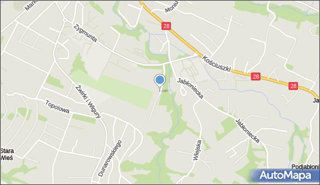 Limanowa, Jeżynowa, mapa Limanowa