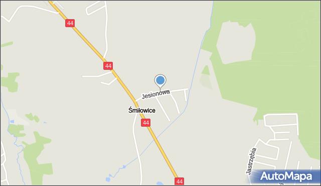 Mikołów, Jesionowa, mapa Mikołów