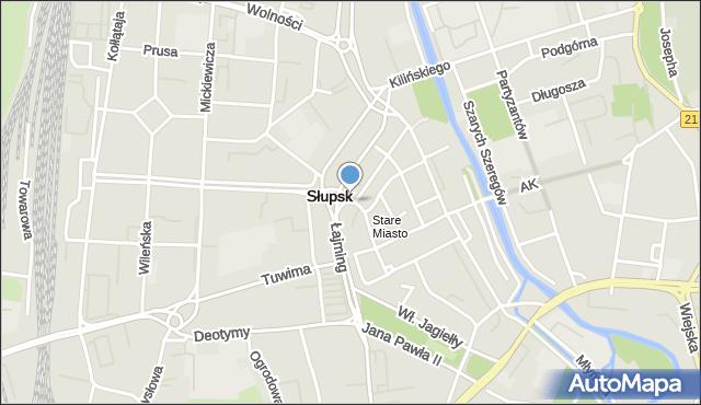 Słupsk, Jedności Narodowej, mapa Słupska