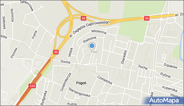 Sosnowiec, Jesienna, mapa Sosnowca
