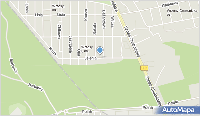 Toruń, Jelenia, mapa Torunia