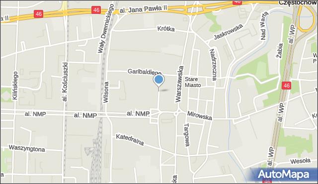 Częstochowa, Joselewicza, mapa Częstochowy