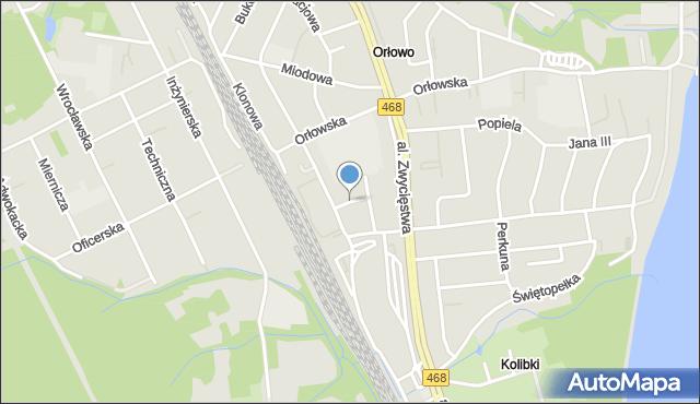 Gdynia, Jodłowa, mapa Gdyni