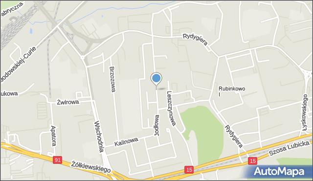 Toruń, Jodłowa, mapa Torunia