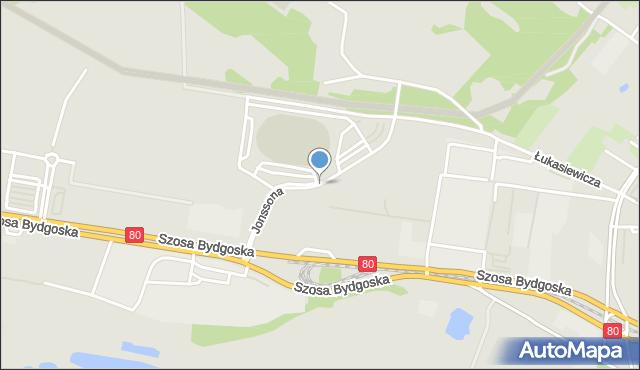 Toruń, Jonssona Pera, mapa Torunia