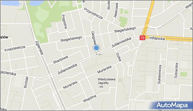 Łódź, Julianowska, mapa Łodzi