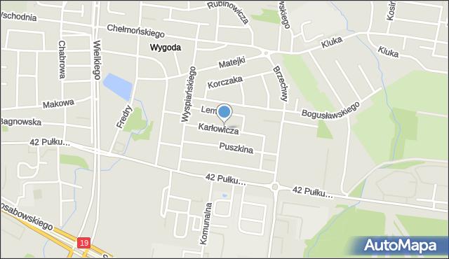 Białystok, Karłowicza Mieczysława, mapa Białegostoku