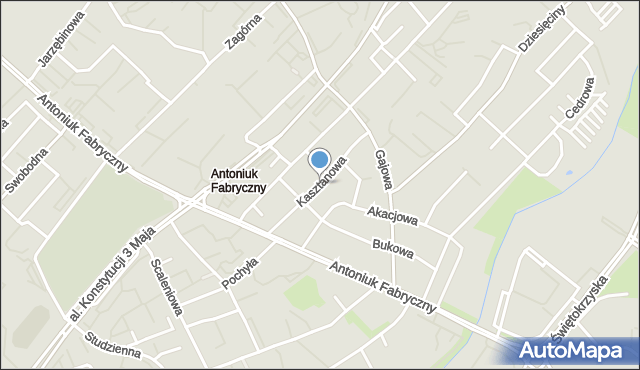 Białystok, Kasztanowa, mapa Białegostoku