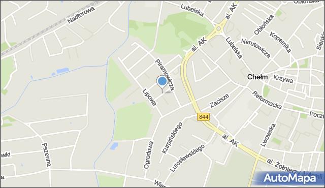 Chełm, Kasztanowa, mapa Chełma