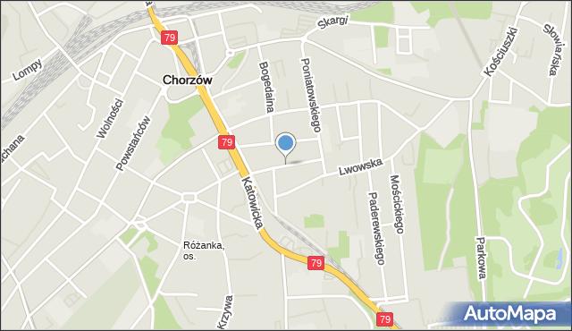 Chorzów, Kaszubska, mapa Chorzów