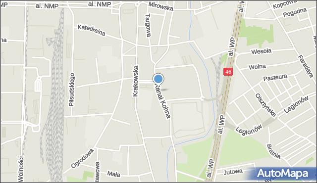 Częstochowa, Kanał Kohna, mapa Częstochowy