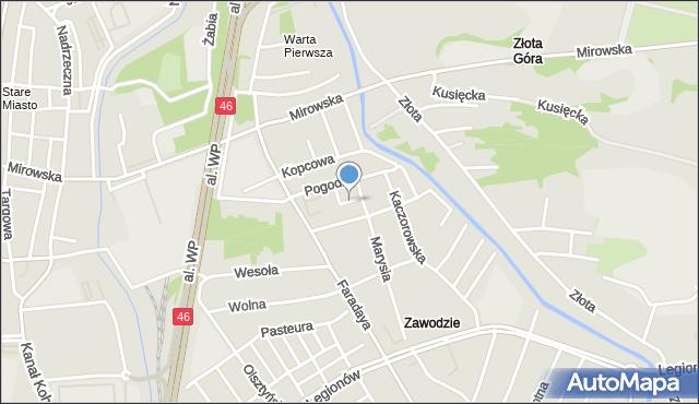Częstochowa, Kątna, mapa Częstochowy