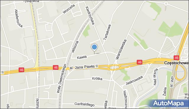Częstochowa, Kawia, mapa Częstochowy