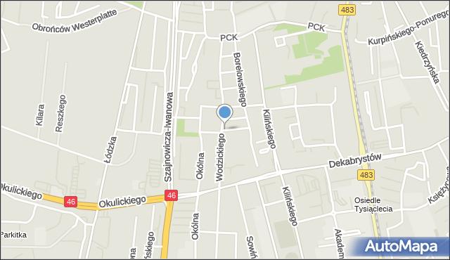 Częstochowa, Kasprzaka Marcina, mapa Częstochowy