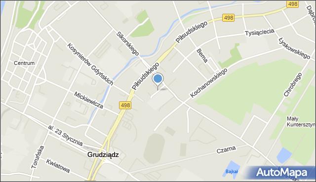 Grudziądz, Kadłubka Wincentego, bp., mapa Grudziądza