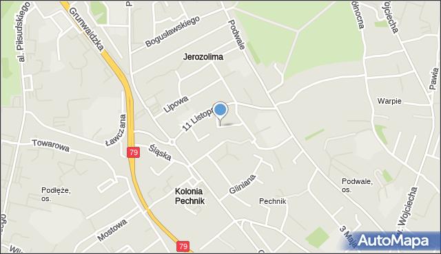 Jaworzno, Kadłubka Wincentego, bp., mapa Jaworzno