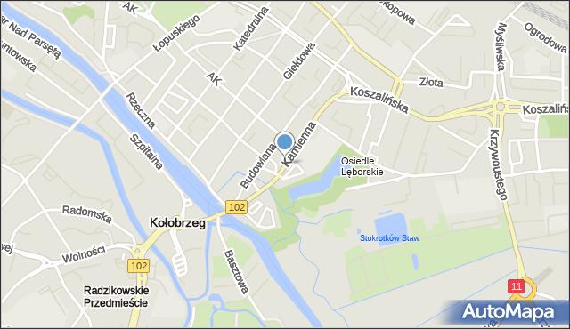 Kołobrzeg, Kamienna, mapa Kołobrzegu