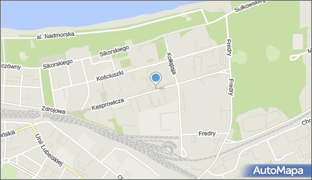 Kołobrzeg, Kasprowicza Jana, mapa Kołobrzegu