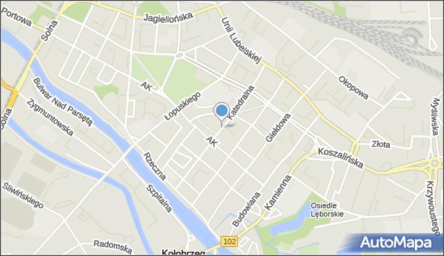 Kołobrzeg, Katedralna, mapa Kołobrzegu