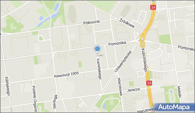 Łódź, Kamińskiego Aleksandra, hm., mapa Łodzi