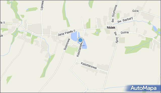 Nidek, Kasztanowa, mapa Nidek